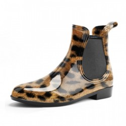 Side Gore Ankle Boots Leopard